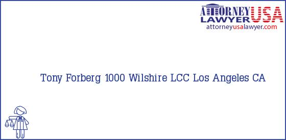 Telephone, Address and other contact data of Tony Forberg, Los Angeles, CA, USA