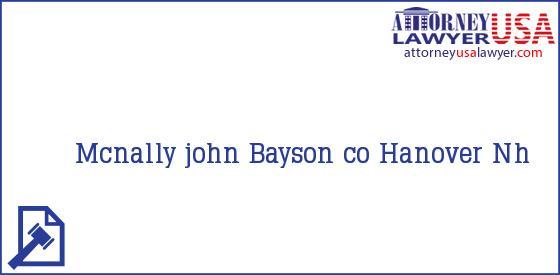 Telephone, Address and other contact data of Mcnally john, Hanover, Nh, USA