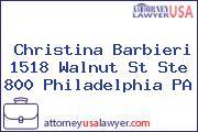 Christina Barbieri 1518 Walnut St Ste 800 Philadelphia PA