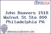 John Beavers 1518 Walnut St Ste 800 Philadelphia PA