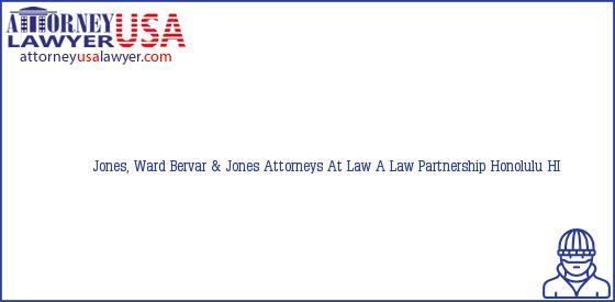 Telephone, Address and other contact data of Jones, Ward, Honolulu, HI, USA