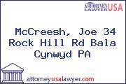 McCreesh, Joe 34 Rock Hill Rd Bala Cynwyd PA