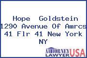 Hope  Goldstein 1290 Avenue Of Amrcs 41 Flr 41 New York NY