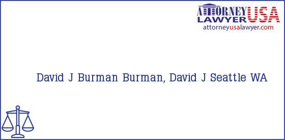 Telephone, Address and other contact data of David J Burman, Seattle, WA, USA
