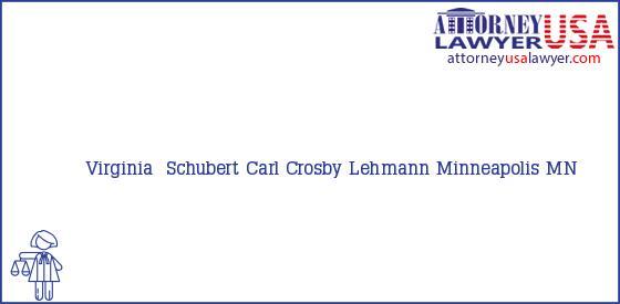 Telephone, Address and other contact data of Virginia  Schubert, Minneapolis, MN, USA