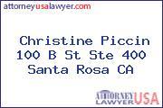 Christine Piccin 100 B St Ste 400 Santa Rosa CA