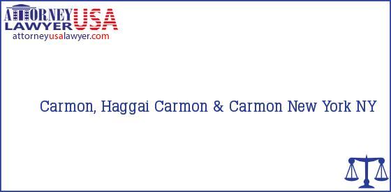 Telephone, Address and other contact data of Carmon, Haggai, New York, NY, USA