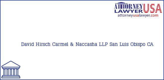 Telephone, Address and other contact data of David Hirsch, San Luis Obispo, CA, USA