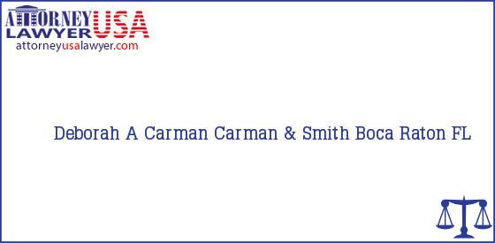 Telephone, Address and other contact data of Deborah A Carman, Boca Raton, FL, USA