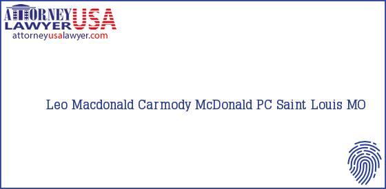Telephone, Address and other contact data of Leo Macdonald, Saint Louis, MO, USA