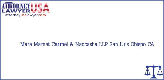 Telephone, Address and other contact data of Mara Mamet, San Luis Obispo, CA, USA