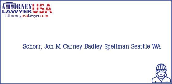 Telephone, Address and other contact data of Schorr, Jon M, Seattle, WA, USA
