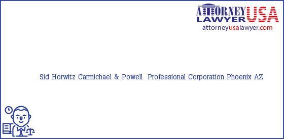 Telephone, Address and other contact data of Sid Horwitz, Phoenix, AZ, USA
