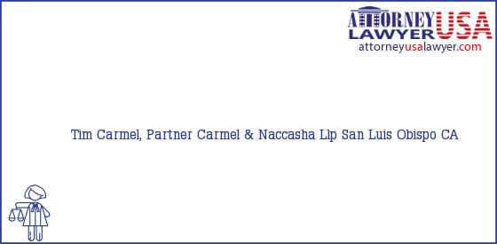 Telephone, Address and other contact data of Tim Carmel, Partner, San Luis Obispo, CA, USA
