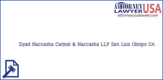 Telephone, Address and other contact data of Ziyad Naccasha, San Luis Obispo, CA, USA