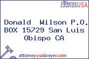 Donald  Wilson P.O. BOX 15729 San Luis Obispo CA