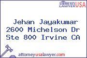 Jehan Jayakumar 2600 Michelson Dr Ste 800 Irvine CA