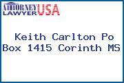 Keith Carlton Po Box 1415 Corinth MS