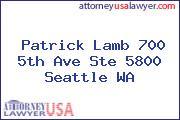 Patrick Lamb 700 5th Ave Ste 5800 Seattle WA
