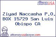 Ziyad Naccasha P.O. BOX 15729 San Luis Obispo CA