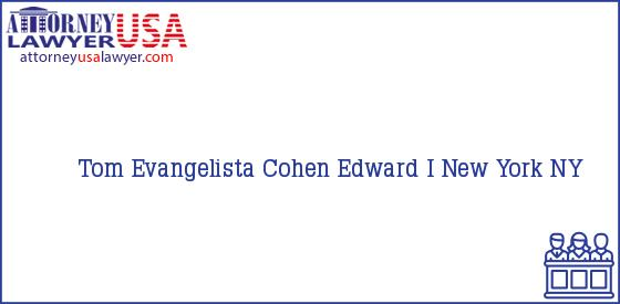 Telephone, Address and other contact data of Tom Evangelista, New York, NY, USA