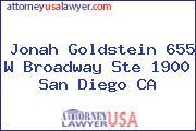 Jonah Goldstein 655 W Broadway Ste 1900 San Diego CA