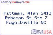 Pittman, Alan 2413 Robeson St Ste 7 Fayetteville NC
