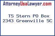TS Stern PO Box 2343 Greenville SC