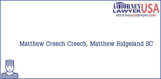 Telephone, Address and other contact data of Matthew Creech, Ridgeland, SC, USA