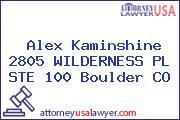 Alex Kaminshine 2805 WILDERNESS PL STE 100 Boulder CO