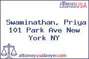 Swaminathan, Priya 101 Park Ave New York NY