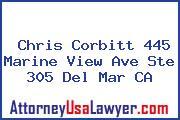 Chris Corbitt 445 Marine View Ave Ste 305 Del Mar CA