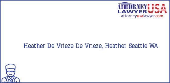Telephone, Address and other contact data of Heather De Vrieze, Seattle, WA, USA
