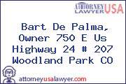 Bart De Palma, Owner 750 E Us Highway 24 # 207 Woodland Park CO