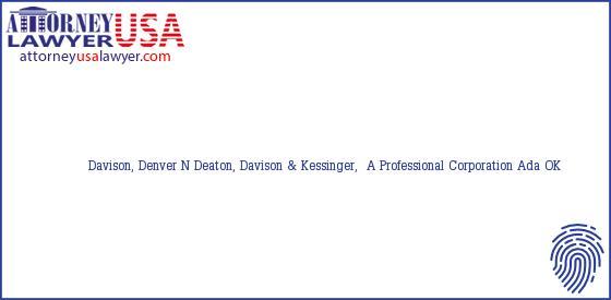 Telephone, Address and other contact data of Davison, Denver N, Ada, OK, USA