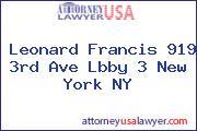 Leonard Francis 919 3rd Ave Lbby 3 New York NY