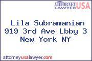 Lila Subramanian 919 3rd Ave Lbby 3 New York NY