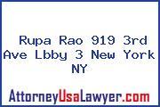 Rupa Rao 919 3rd Ave Lbby 3 New York NY