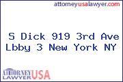 S Dick 919 3rd Ave Lbby 3 New York NY