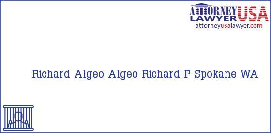 Telephone, Address and other contact data of Richard Algeo, Spokane, WA, USA