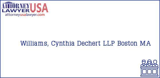 Telephone, Address and other contact data of Williams, Cynthia, Boston, MA, USA