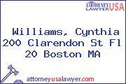 Williams, Cynthia 200 Clarendon St Fl 20 Boston MA