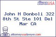 John H Donboli 322 8th St Ste 101 Del Mar CA