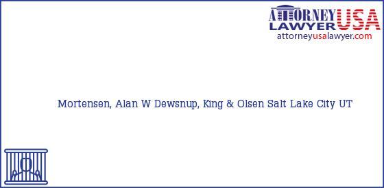 Telephone, Address and other contact data of Mortensen, Alan W, Salt Lake City, UT, USA