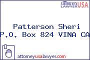 Patterson Sheri P.O. Box 824 VINA CA