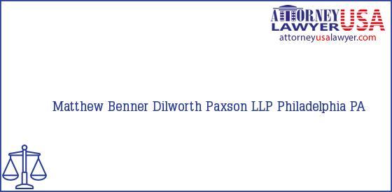 Telephone, Address and other contact data of Matthew Benner, Philadelphia, PA, USA