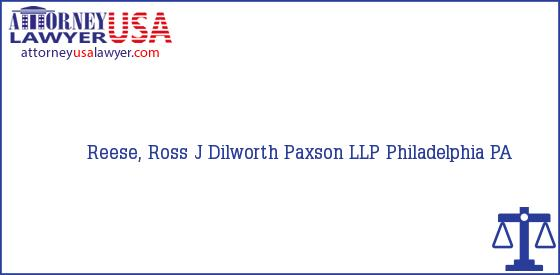 Telephone, Address and other contact data of Reese, Ross J, Philadelphia, PA, USA