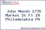John Menth 1735 Market St Fl 28 Philadelphia PA