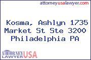 Kosma, Ashlyn 1735 Market St Ste 3200 Philadelphia PA