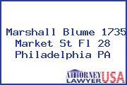 Marshall Blume 1735 Market St Fl 28 Philadelphia PA